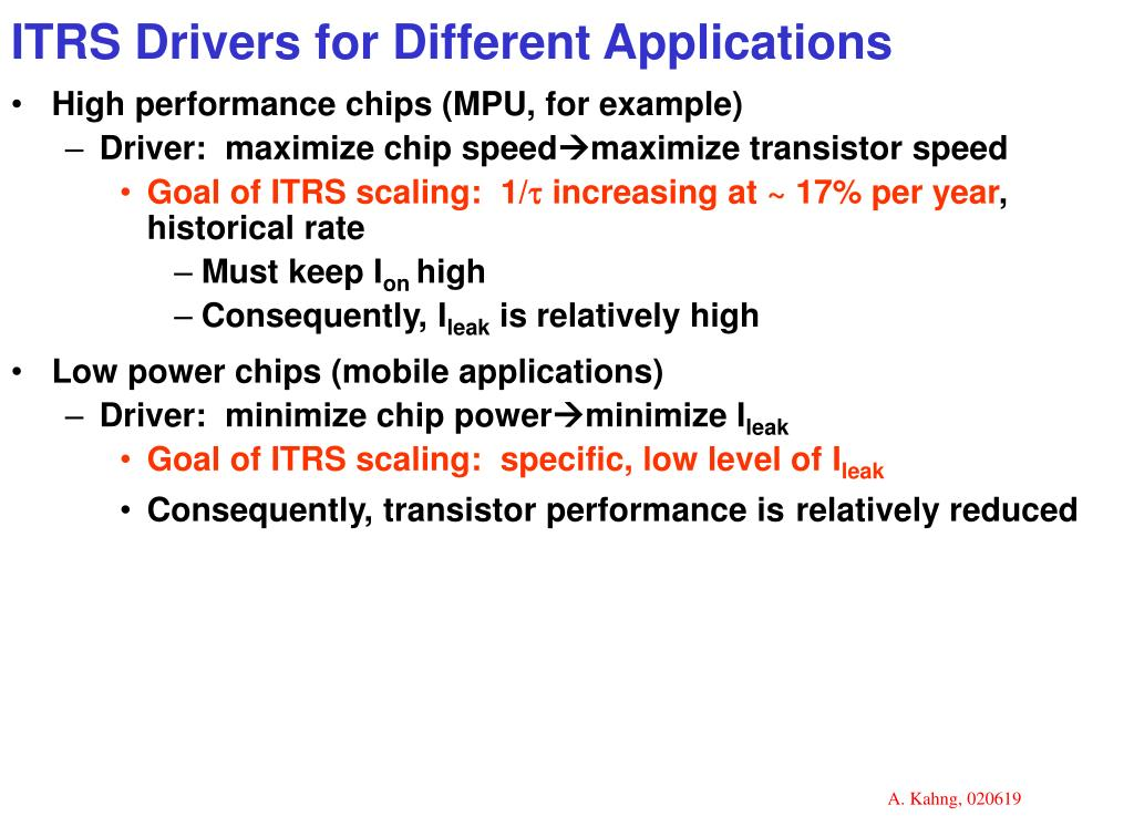 ITRS Drivers for Different Applications