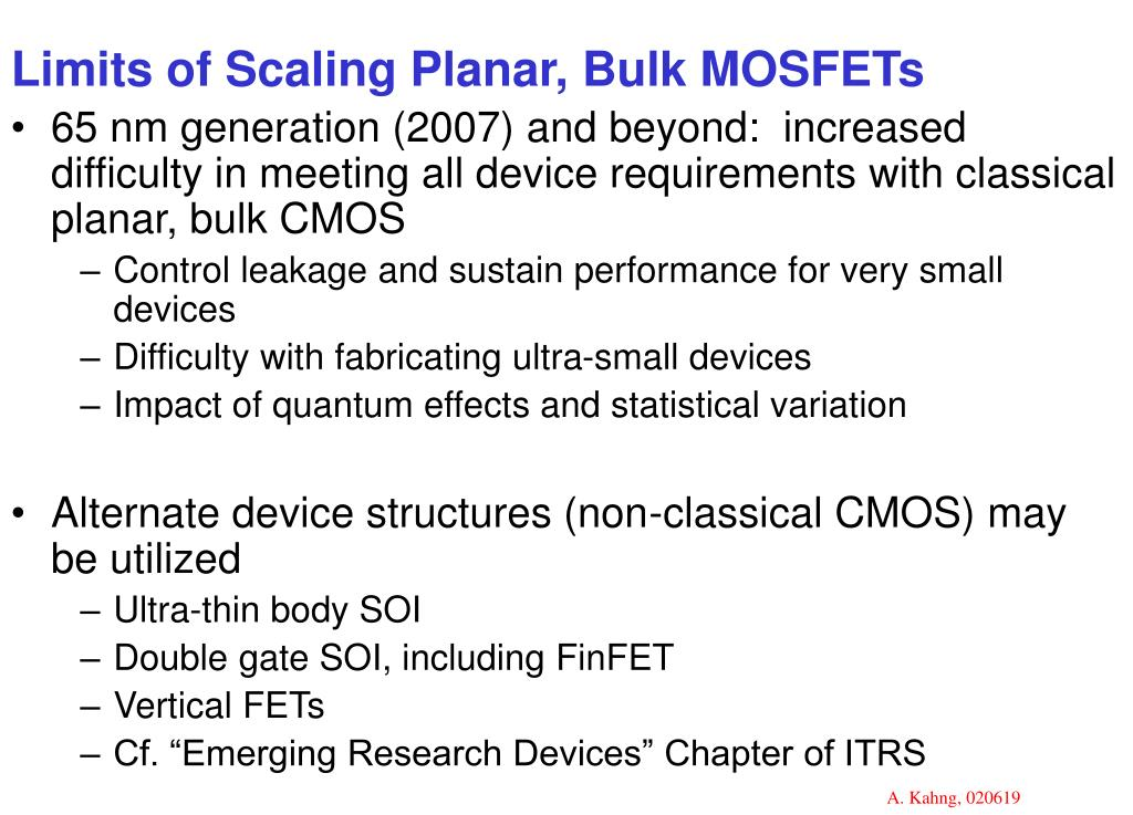 Limits of Scaling Planar, Bulk MOSFETs