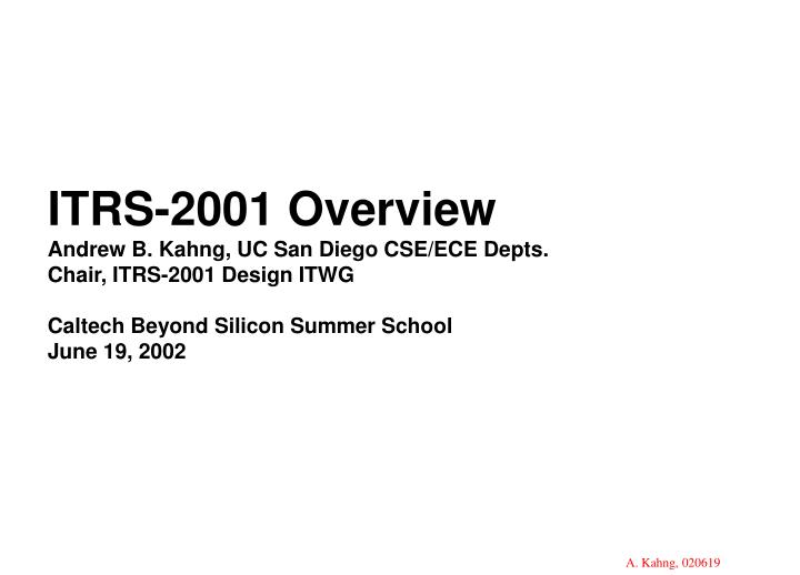 ITRS-2001 Overview