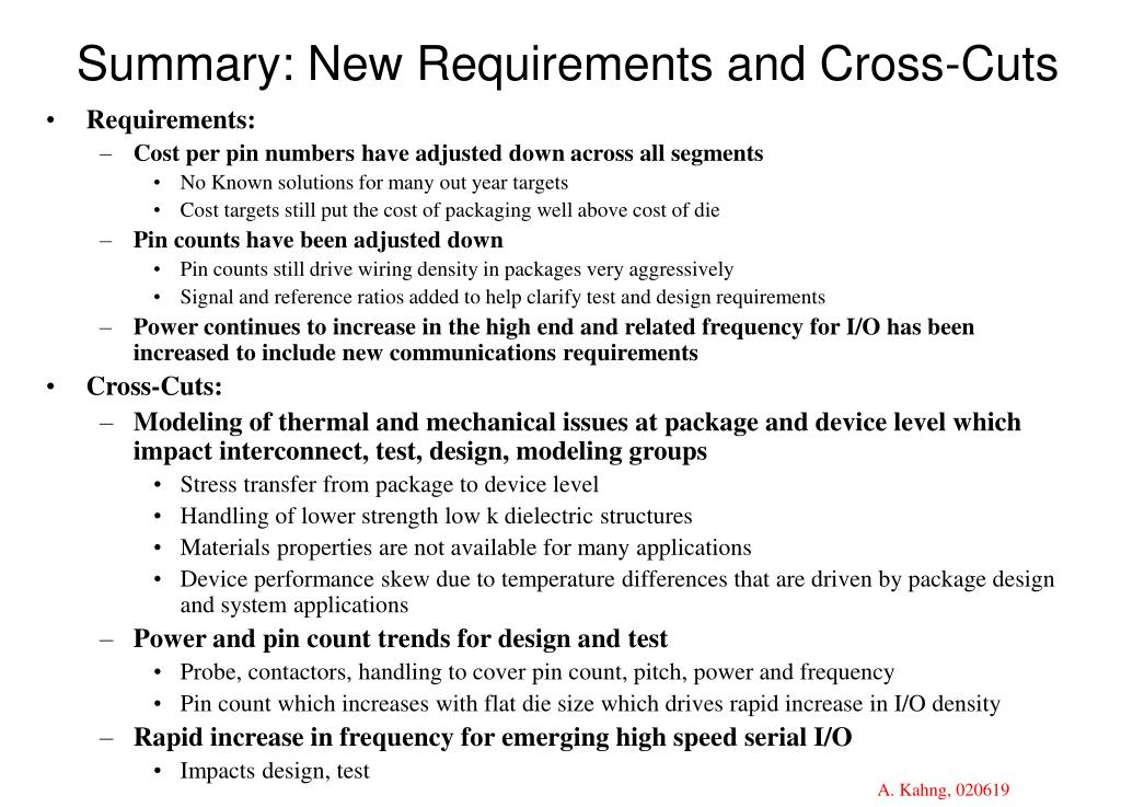 Summary: New Requirements and Cross-Cuts