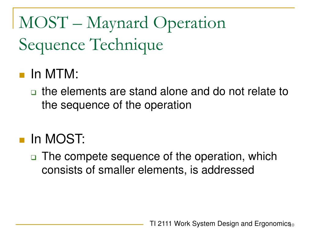 MOST – Maynard Operation Sequence Technique
