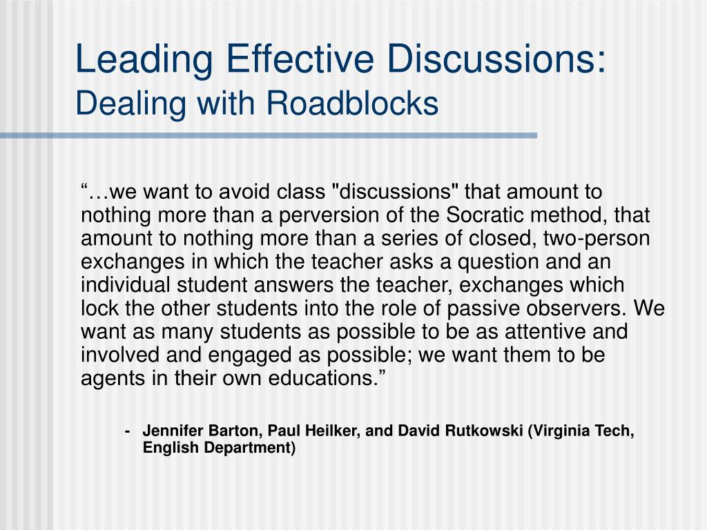 Leading Effective Discussions: