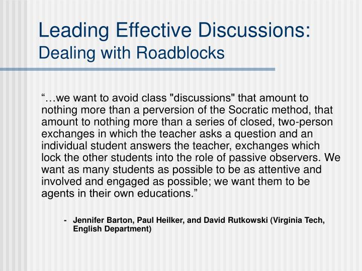 Leading effective discussions dealing with roadblocks2