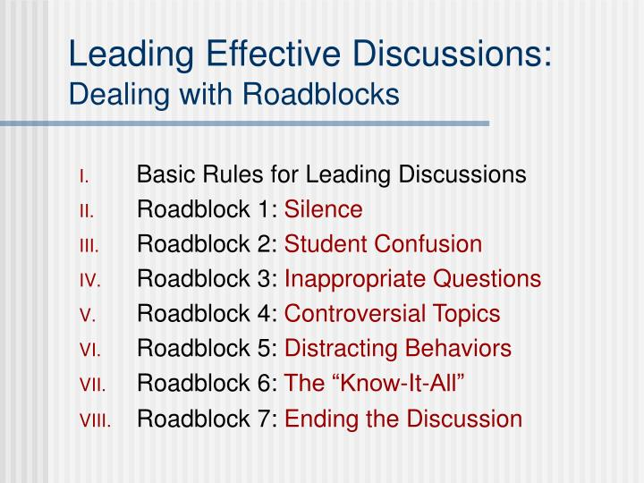 Leading effective discussions dealing with roadblocks3