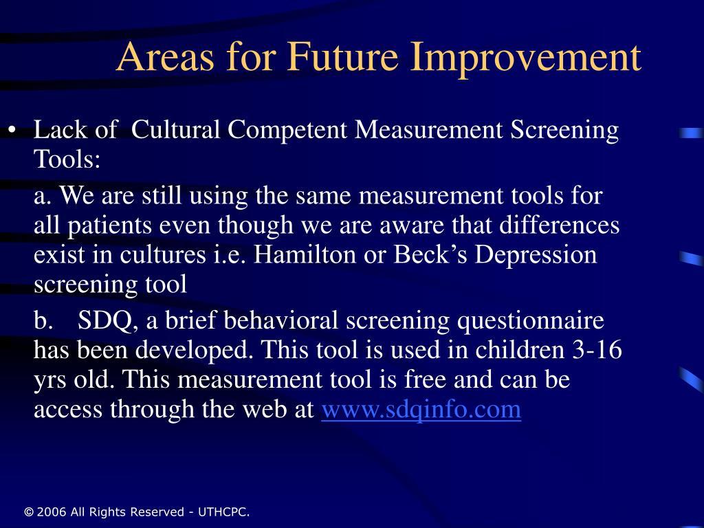 Areas for Future Improvement
