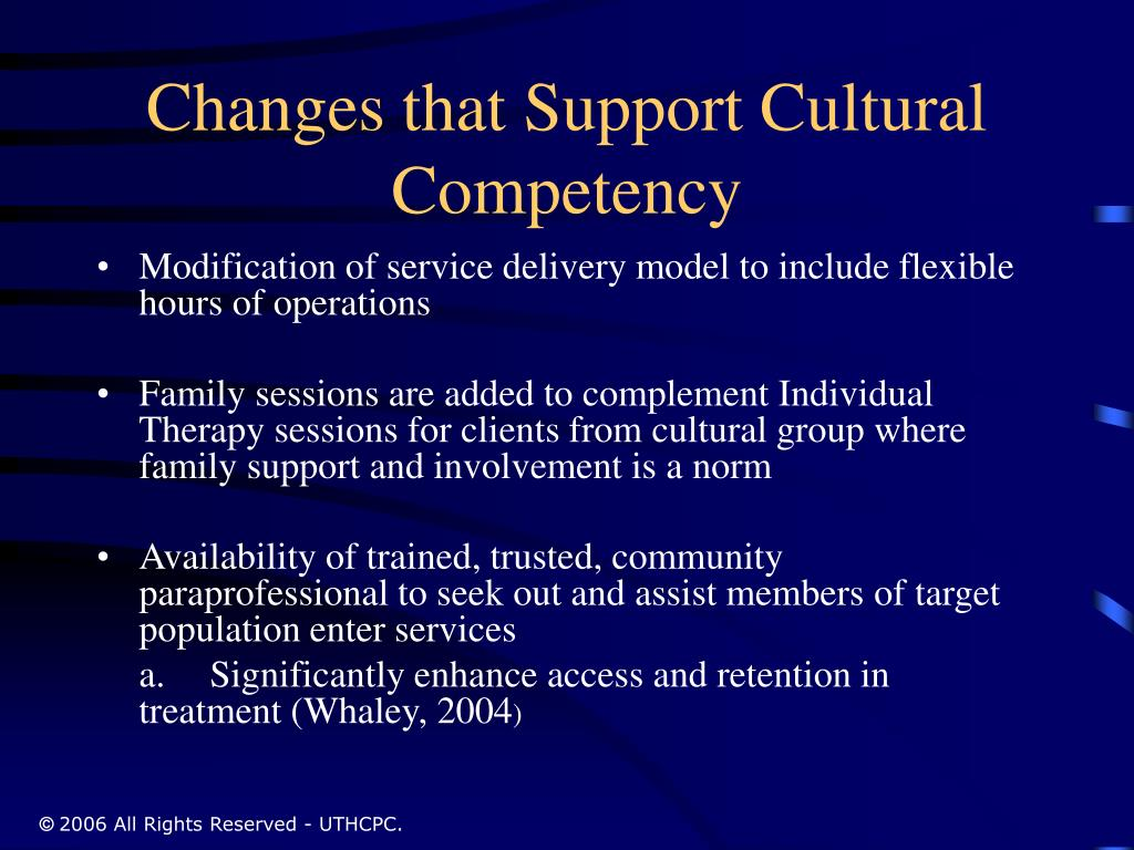 Changes that Support Cultural Competency