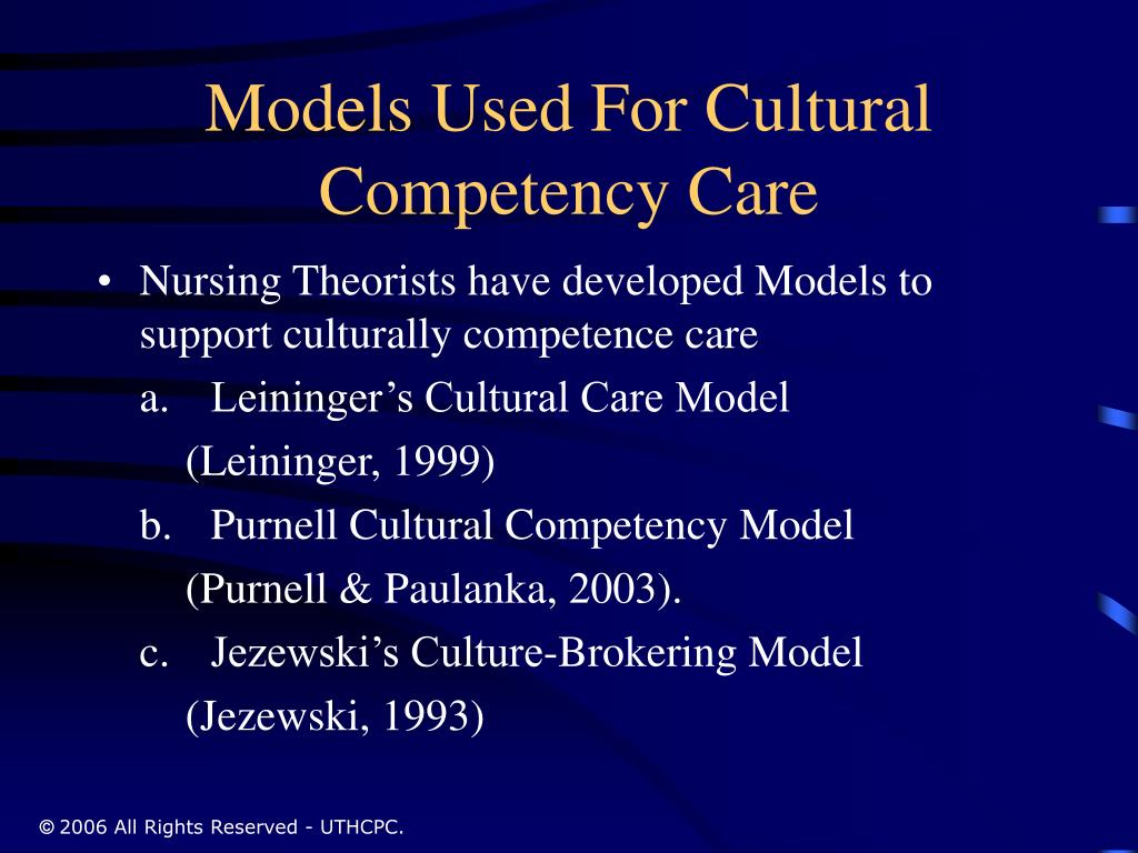 Models Used For Cultural Competency Care