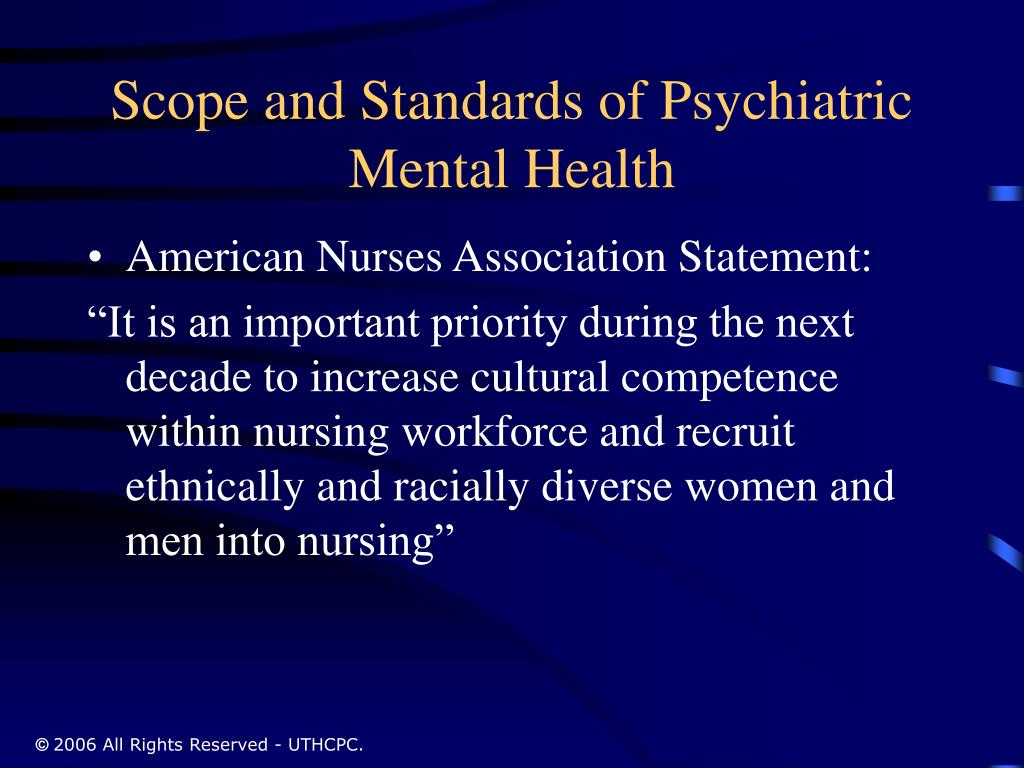 Scope and Standards of Psychiatric Mental Health