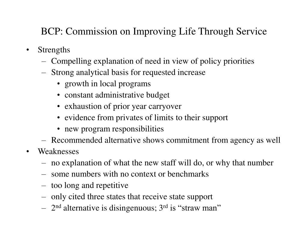 BCP: Commission on Improving Life Through Service