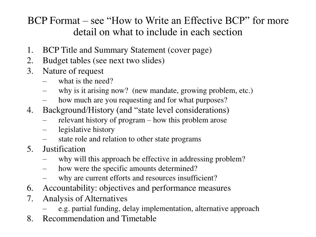 "BCP Format – see ""How to Write an Effective BCP"" for more detail on what to include in each section"