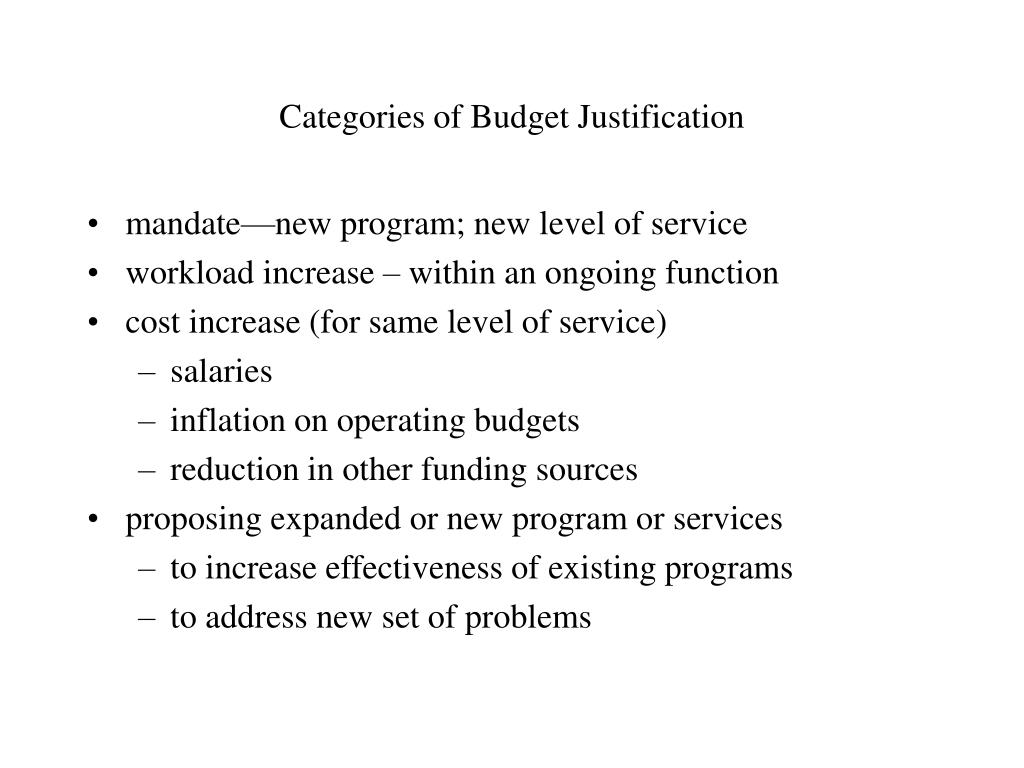 Categories of Budget Justification
