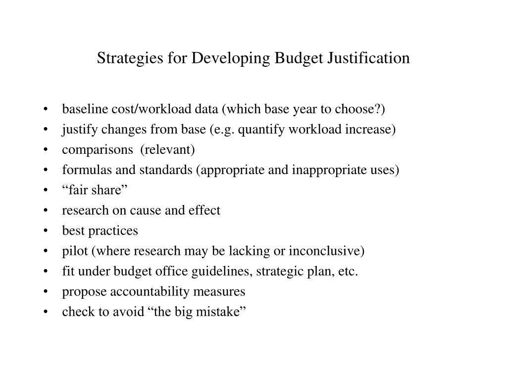 Strategies for Developing Budget Justification