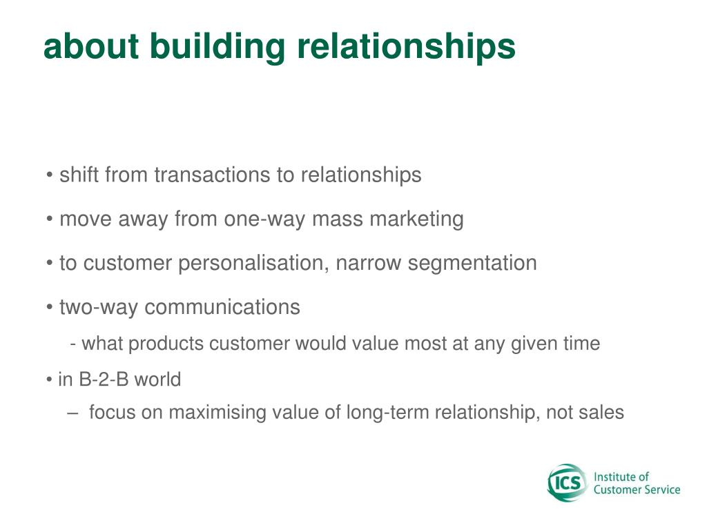 about building relationships