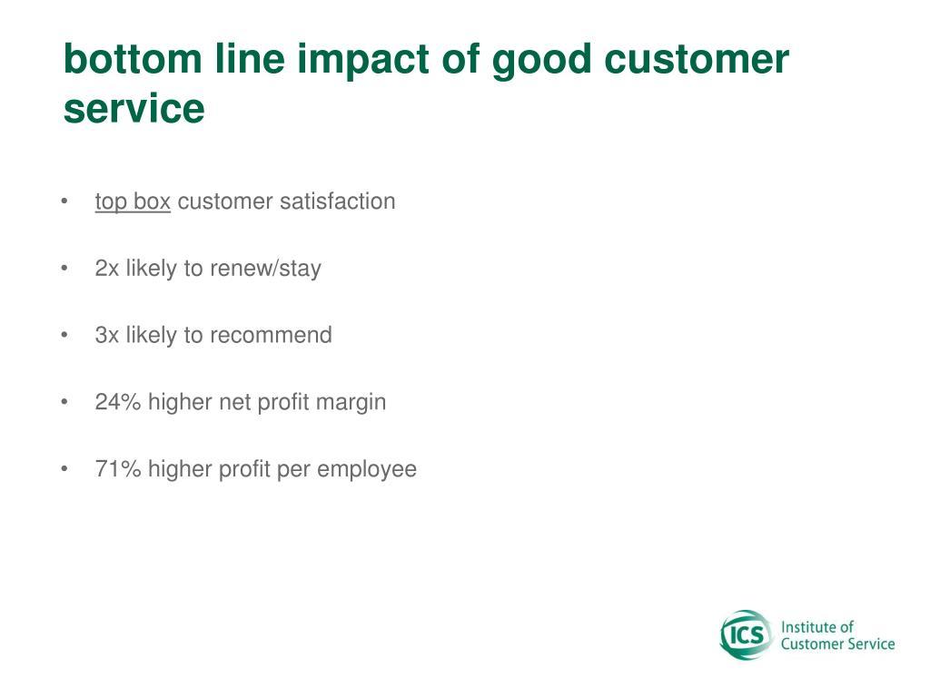 bottom line impact of good customer service