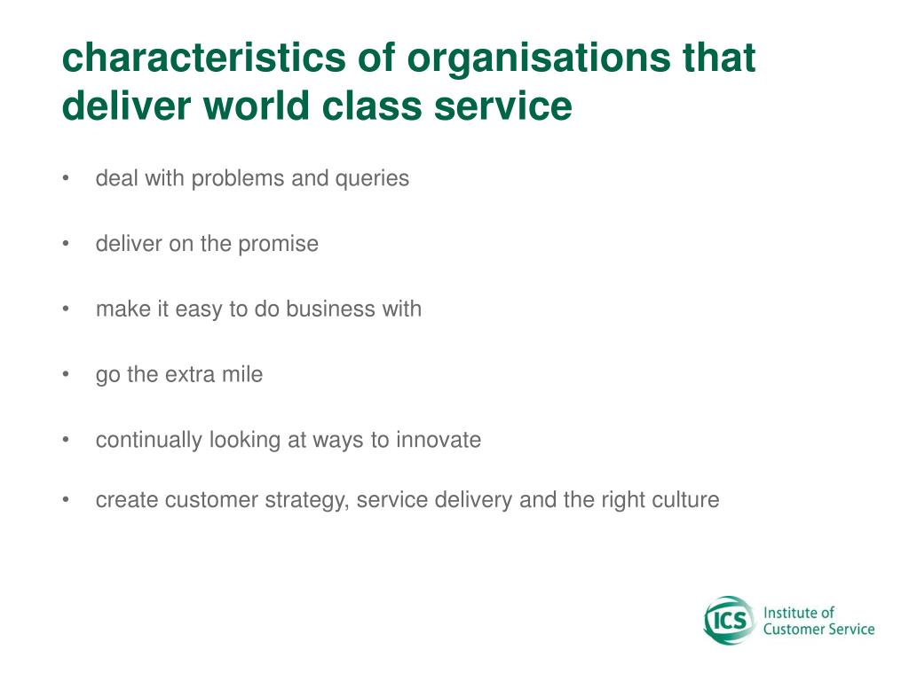 characteristics of organisations that deliver world class service