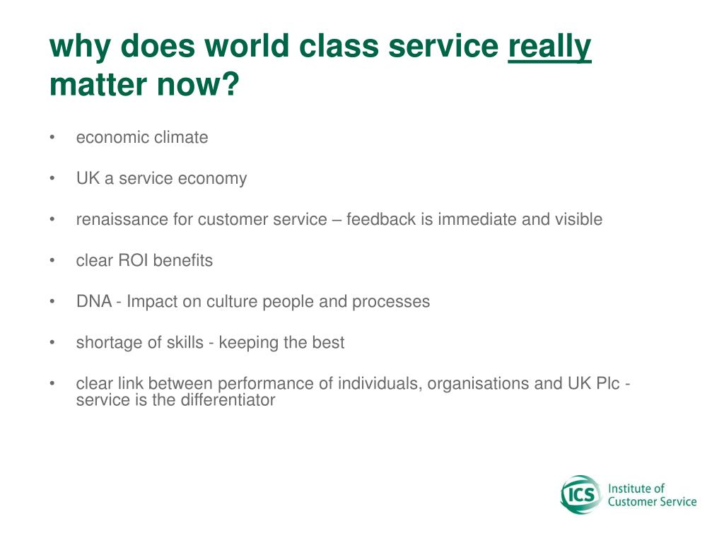why does world class service