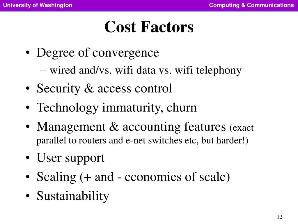 Cost Factors