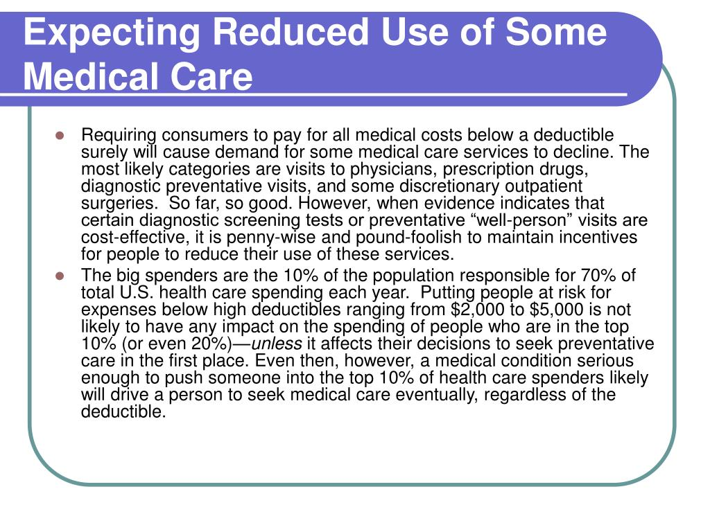 Expecting Reduced Use of Some Medical Care