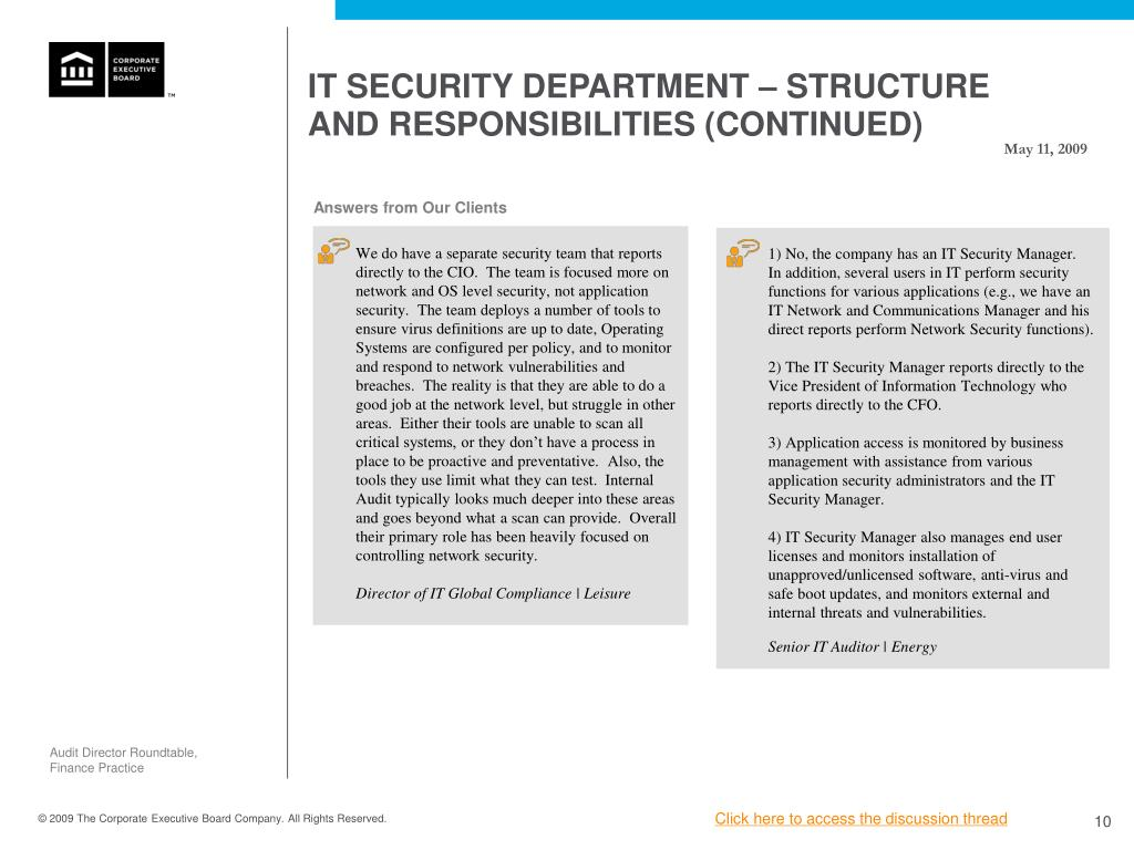 IT SECURITY DEPARTMENT – STRUCTURE AND RESPONSIBILITIES (CONTINUED)