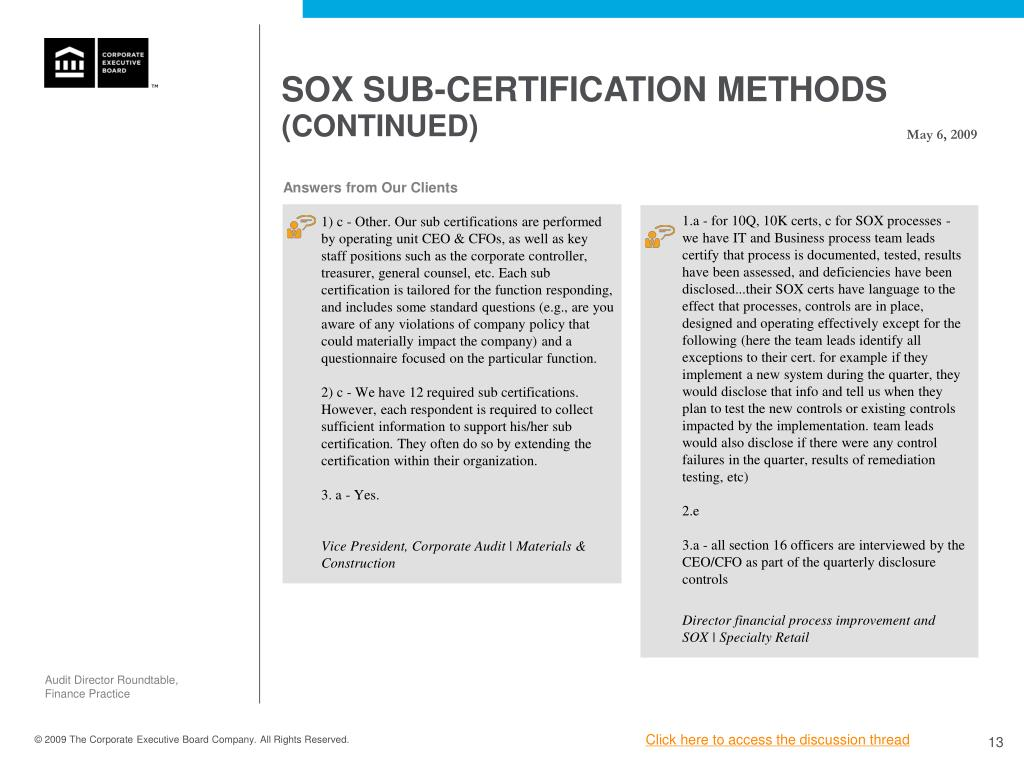 SOX SUB-CERTIFICATION METHODS