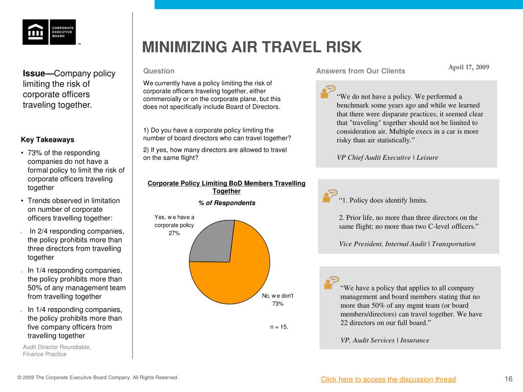 MINIMIZING AIR TRAVEL RISK