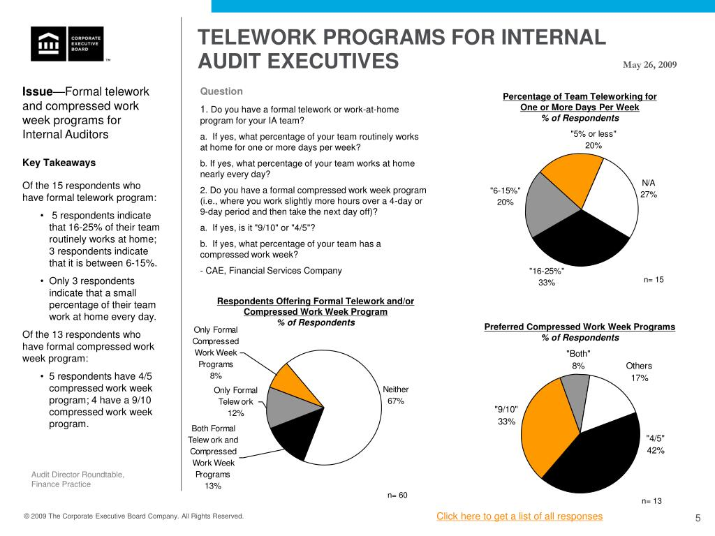 TELEWORK PROGRAMS FOR INTERNAL AUDIT EXECUTIVES