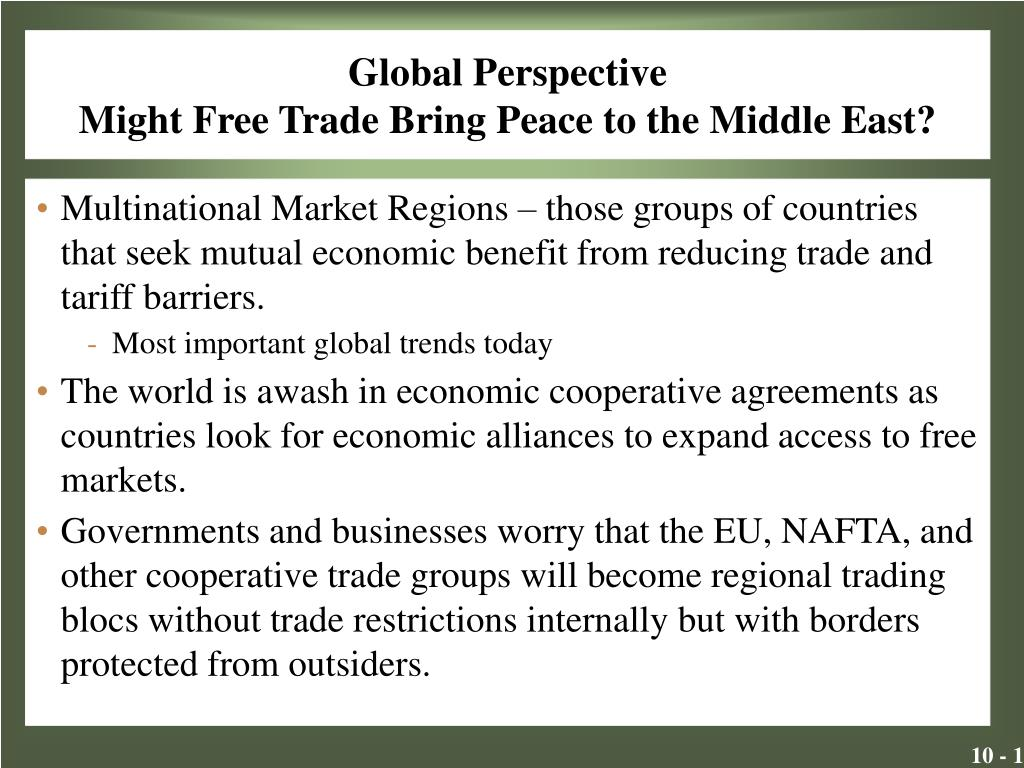 global perspective might free trade bring peace to the middle east l.