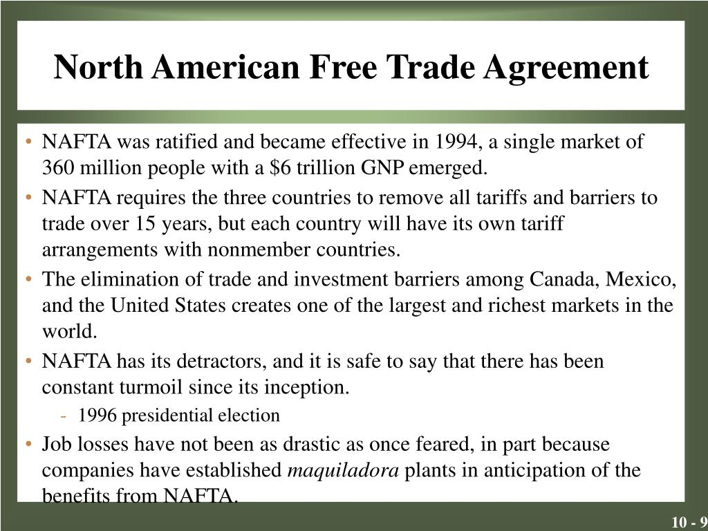 """the history of the north american free trade agreement When president bill clinton signed the north american trade agreement sharply over the pact's history is not that they are """"free trade."""