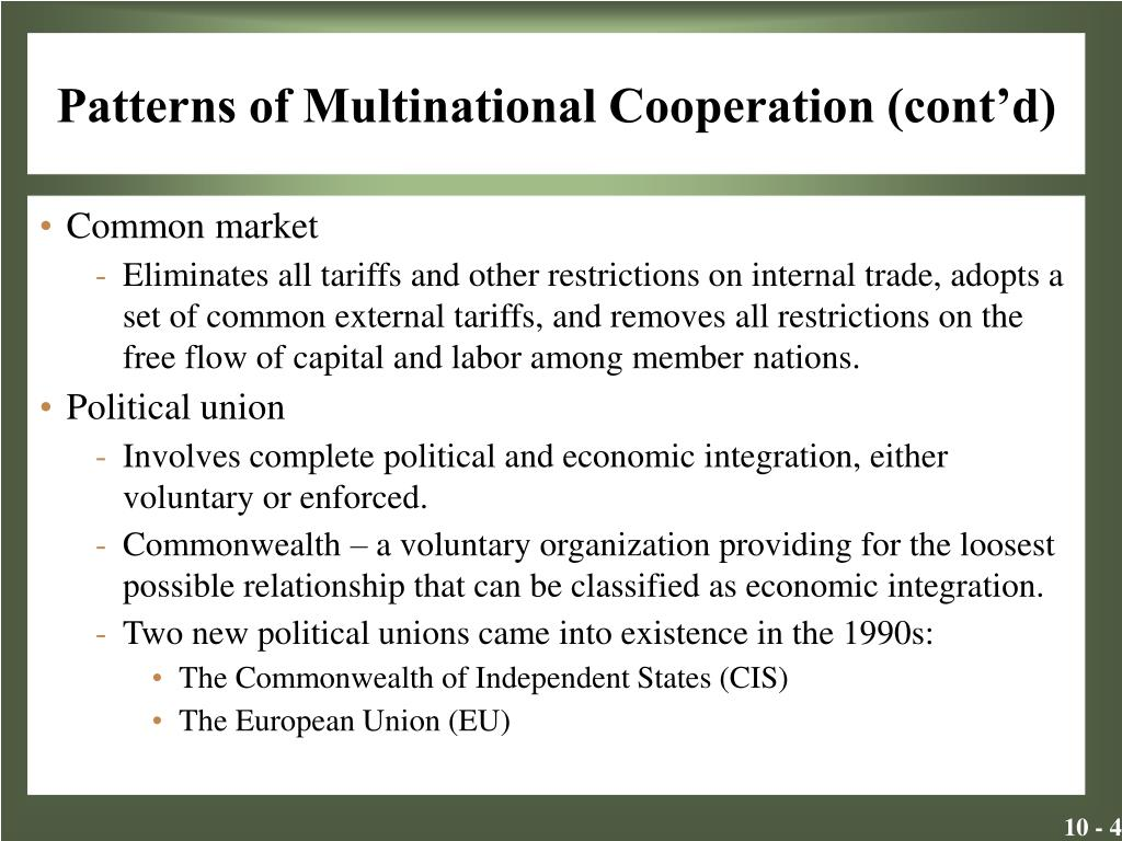 Patterns of Multinational Cooperation (cont'd)