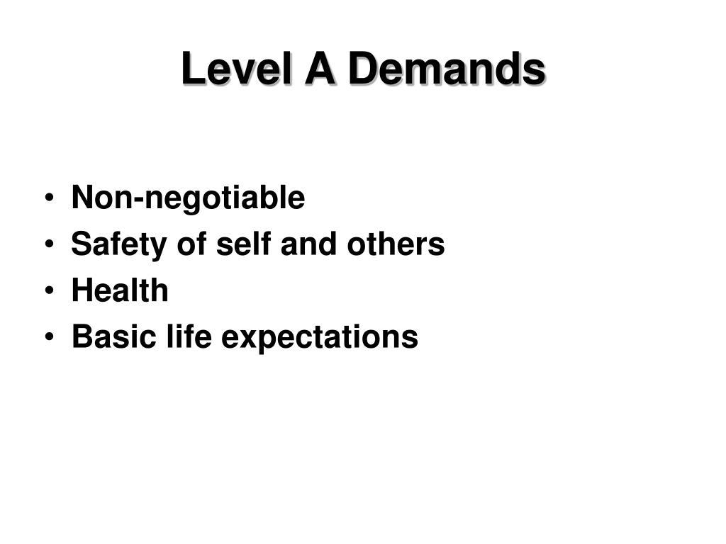 Level A Demands