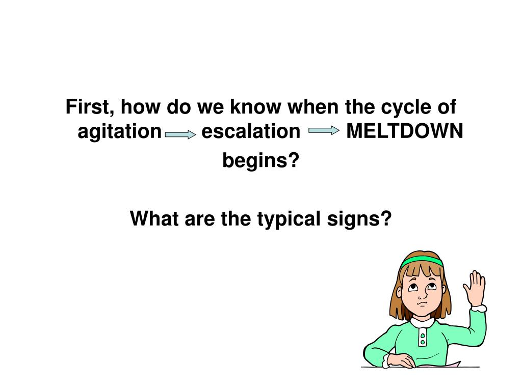 First, how do we know when the cycle of agitation       escalation        MELTDOWN