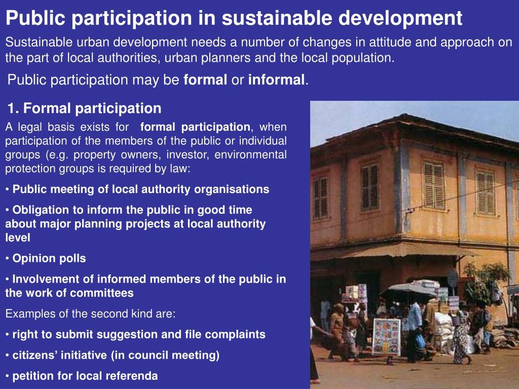 Public participation in sustainable development