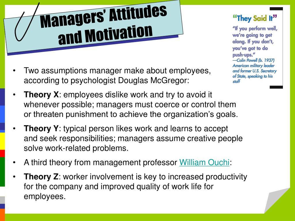 Managers' Attitudes and Motivation