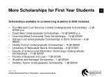 more scholarships for first year students