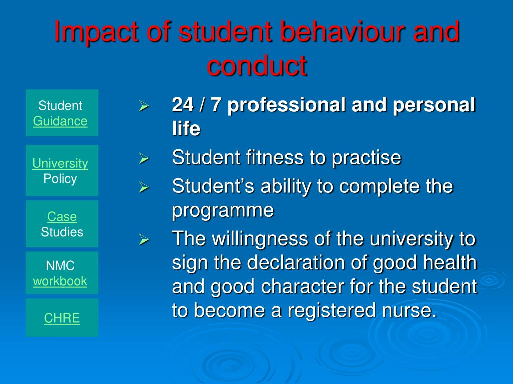 Impact of student behaviour and conduct