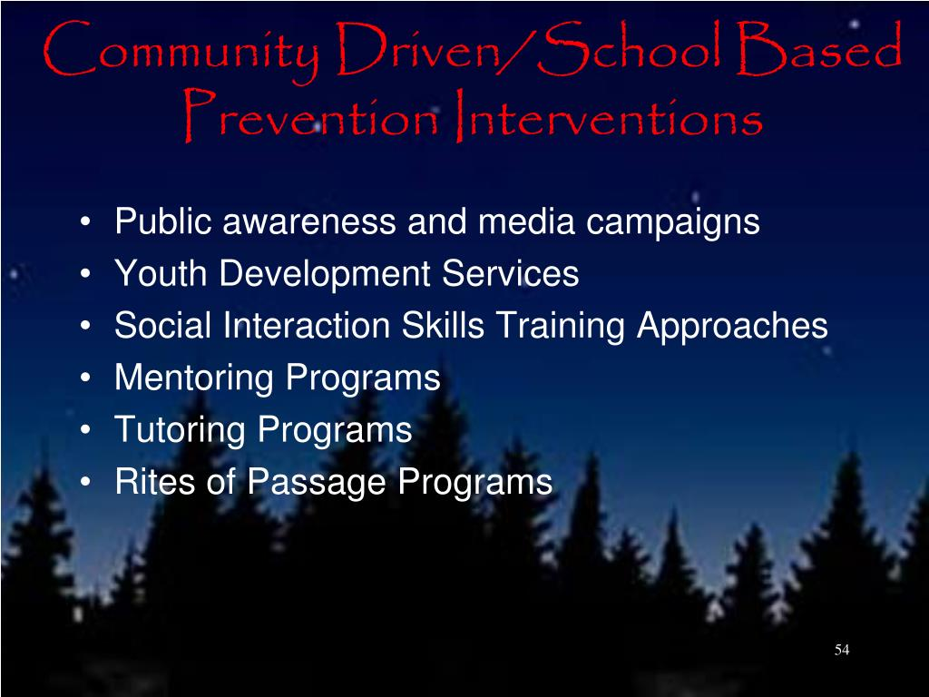 Community Driven/School Based Prevention Interventions