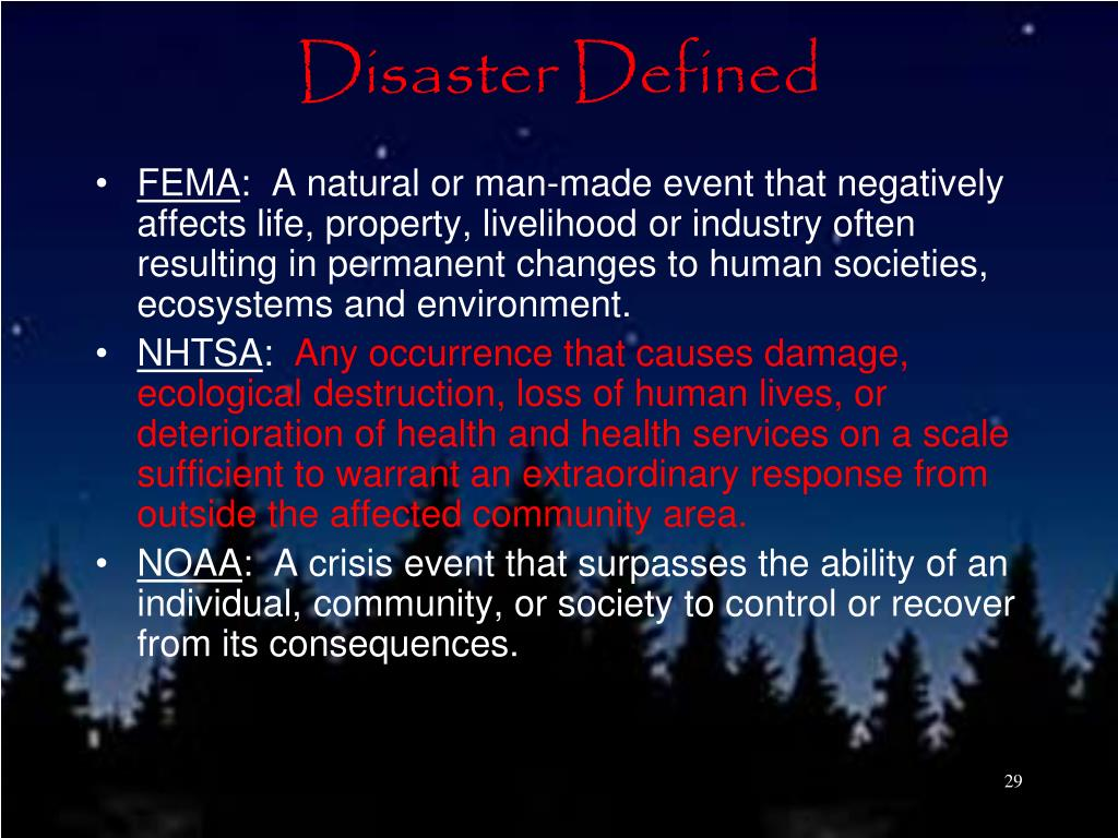 Disaster Defined