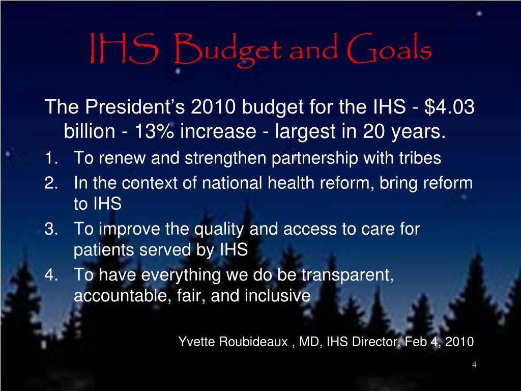 IHS  Budget and Goals