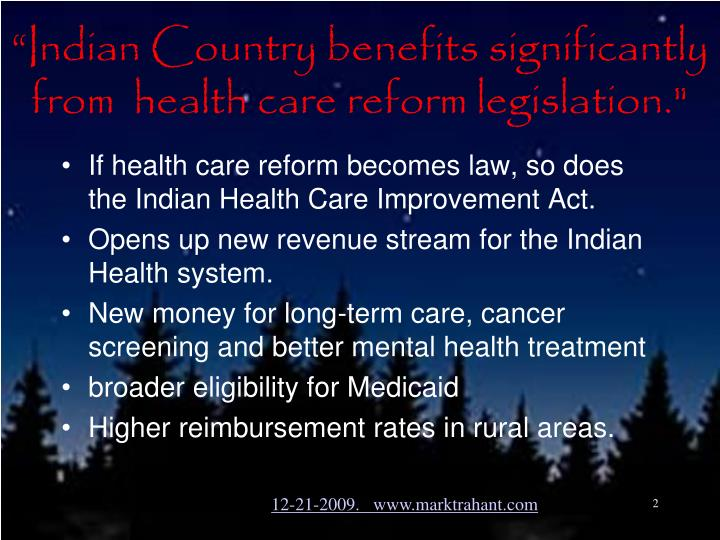 Indian country benefits significantly from health care reform legislation
