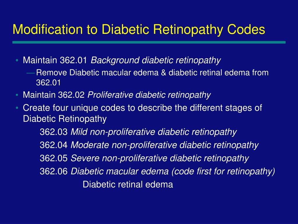 Modification to Diabetic Retinopathy Codes