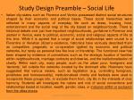 study design preamble social life
