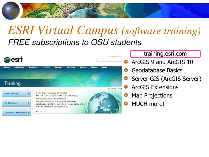 Esri virtual campus software training free subscriptions to osu students