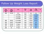 follow up weight loss report