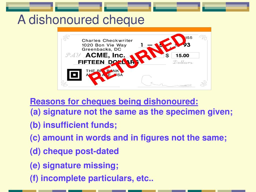 Reasons for cheques being dishonoured: