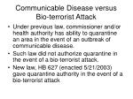 communicable disease versus bio terrorist attack