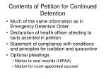 contents of petition for continued detention