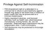 privilege against self incrimination