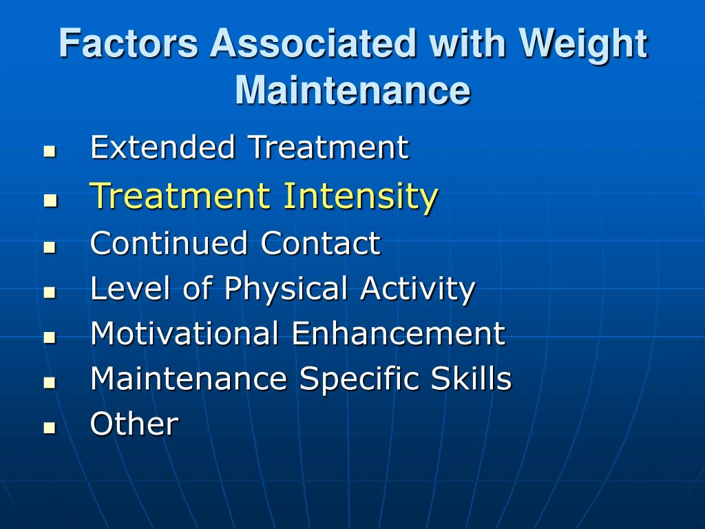Factors Associated with Weight Maintenance