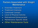 factors associated with weight maintenance28