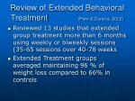review of extended behavioral treatment perri corsica 2002